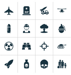 Battle icons set collection of missile panzer vector