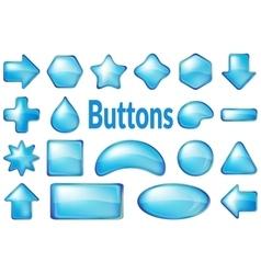 Blue Glass Buttons Set vector image