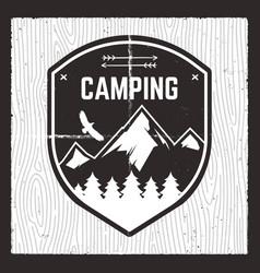 camping adventure card wild mountain explorer vector image
