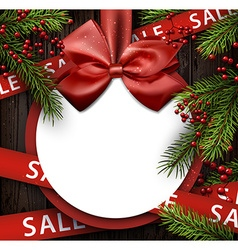 Christmas sale background with satin bow vector