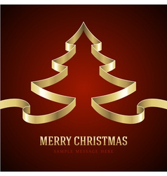 Christmas tree gold from ribbon vector image