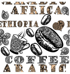 coffee seamless pattern with ethnic african swirls vector image