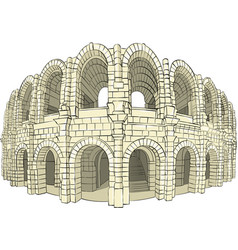 Colosseum arena in arles vector