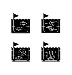 Commercial sea product farming black glyph icons vector