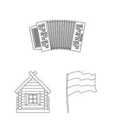 Country russia travel outline icons in set vector