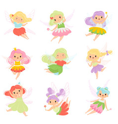 Cute little fairies in colorful dresses set vector