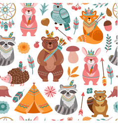 cute tribal animal texture bright animals vector image