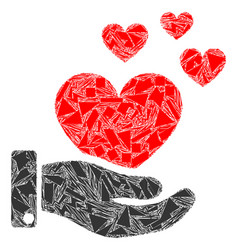 Debris mosaic hand offer love hearts icon vector