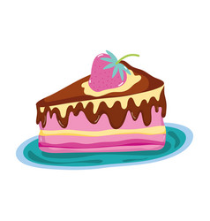 Delicious cake with strawberry fruit in the plate vector