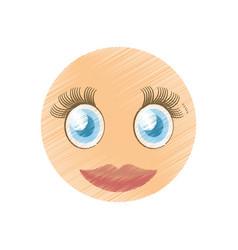 Drawing girl pretty emoticon image vector