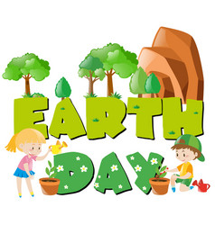 Earth day theme with children and trees vector