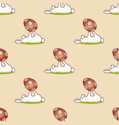 easter bunnies seamless pattern11 vector image