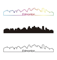 Edmonton skyline linear style with rainbow vector