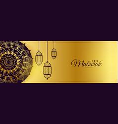 Eid mubarak beautiful golden banner with islamic vector