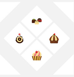 Flat cake set of cake cupcake sweetmeat and vector