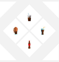 Flat icon beverage set of fizzy drink juice vector