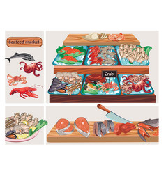 flat seafood market composition vector image