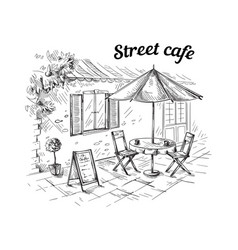 French street cafe hand drawn vector