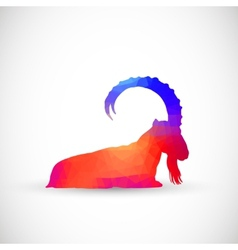 Geometric silhouettes animals Goat Ibexes vector image