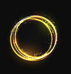 Gold circle light effect with round glowing vector