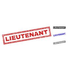 Grunge lieutenant textured rectangle watermarks vector