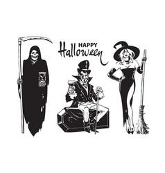 Halloween cartoon characters death with scyand vector