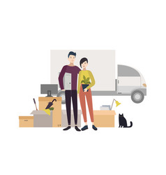 Happy young couple moving into a new house with vector