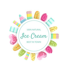ice cream banner template 100 percent natural vector image