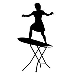 Ironing board surfer silhouette vector