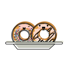 kawaii donuts with cream glaze on dish in vector image