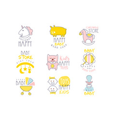 Kids shop promo signs set of colorful vector