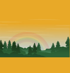 Landscape of hill with rainbow silhouettes vector