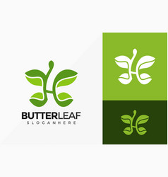 Letter h butterfly and leaf logo design abstract vector