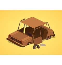 Low poly old rusty car vector