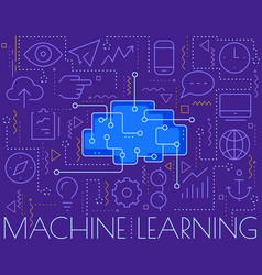 machine learning concept trendy linear vector image