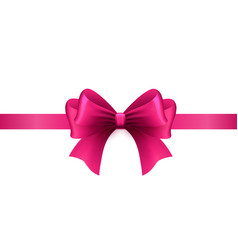 magenta ribbon with bow on a white background vector image