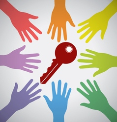 Many Colorful Hands Surrounding A Red Key vector image