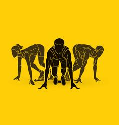 marathon runner start running group of people vector image