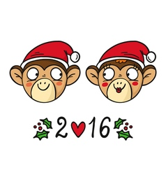 Monkey couple in Santas hats chinese new year 2016 vector