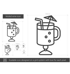 Mulled wine line icon vector