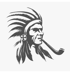 Native american indian face vector