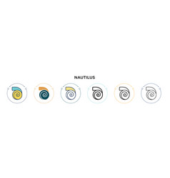 Nautilus icon in filled thin line outline and vector