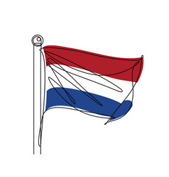 Netherlands flag continuous line vector