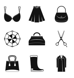 Nice clothes icons set simple style vector
