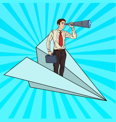 Pop art businessman flying paper plane vector
