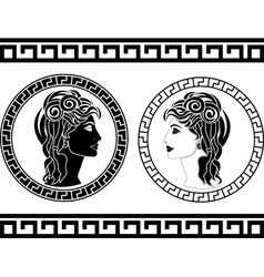 Profiles of roman woman vector
