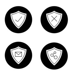 protection shields glyph icons set vector image