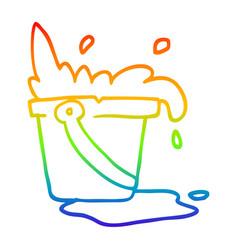 Rainbow gradient line drawing cartoon water and vector