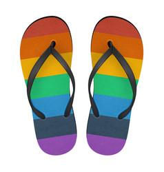 Realistic 3d colors of rainbow flip flop vector