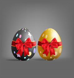 Realistic golden and black easter egg tied of red vector